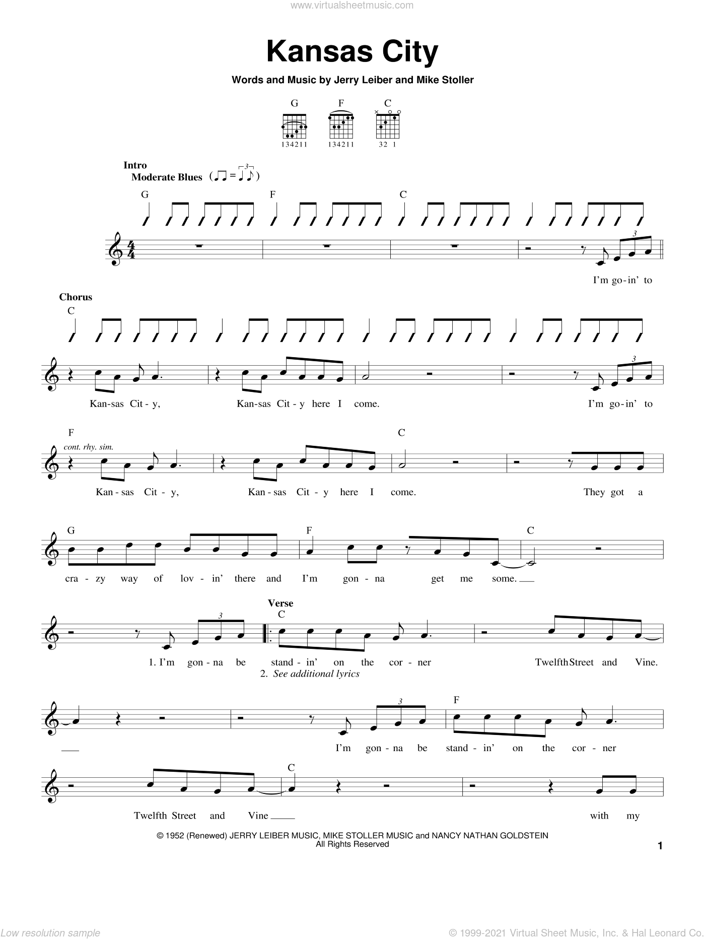 Kansas City sheet music for guitar solo (chords) by Wilbert Harrison, Leiber & Stoller, The Beatles, Jerry Leiber and Mike Stoller, easy guitar (chords)