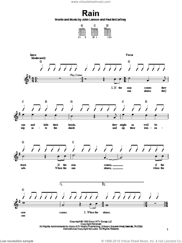 Rain sheet music for guitar solo (chords) by Paul McCartney, The Beatles and John Lennon. Score Image Preview.