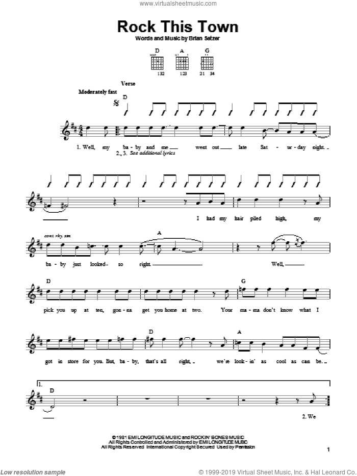 Rock This Town sheet music for guitar solo (chords) by Stray Cats and Brian Setzer