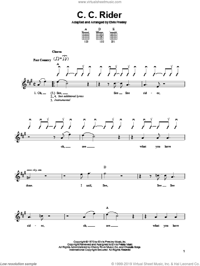 C.C. Rider sheet music for guitar solo (chords) by Elvis Presley, easy guitar (chords)