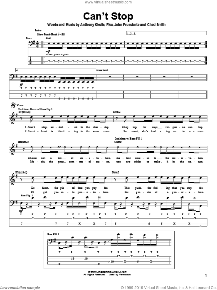 Can't Stop sheet music for bass (tablature) (bass guitar) by Red Hot Chili Peppers, Anthony Kiedis, Flea and John Frusciante, intermediate skill level