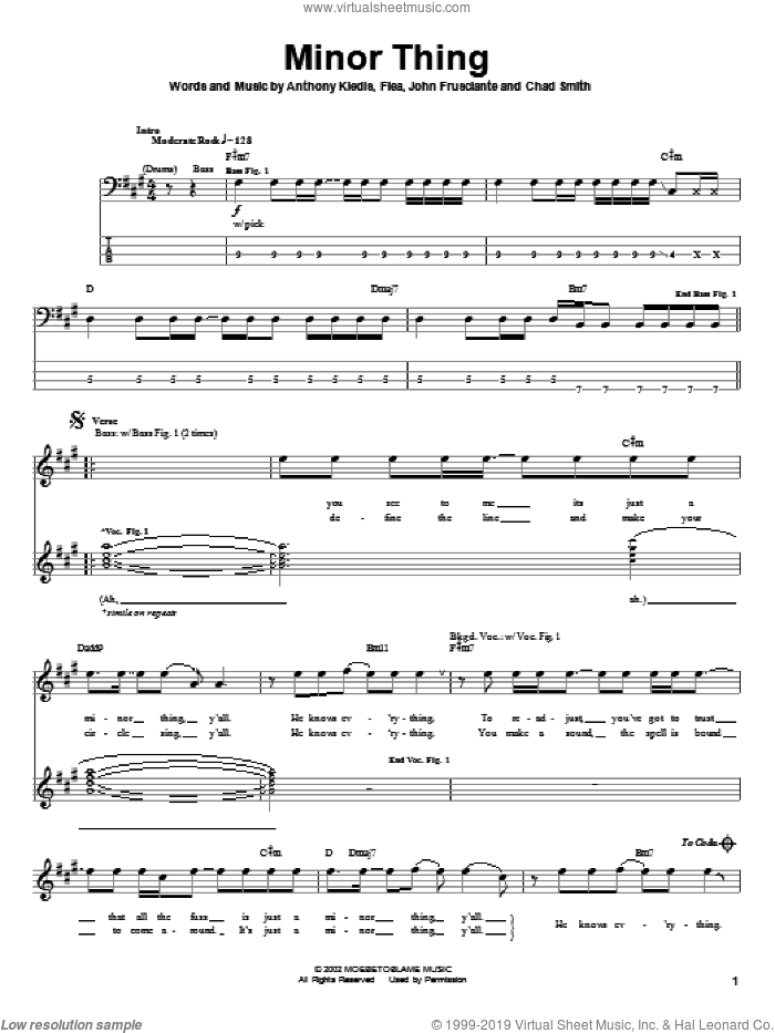 Minor Thing sheet music for bass (tablature) (bass guitar) by John Frusciante, Red Hot Chili Peppers and Flea. Score Image Preview.