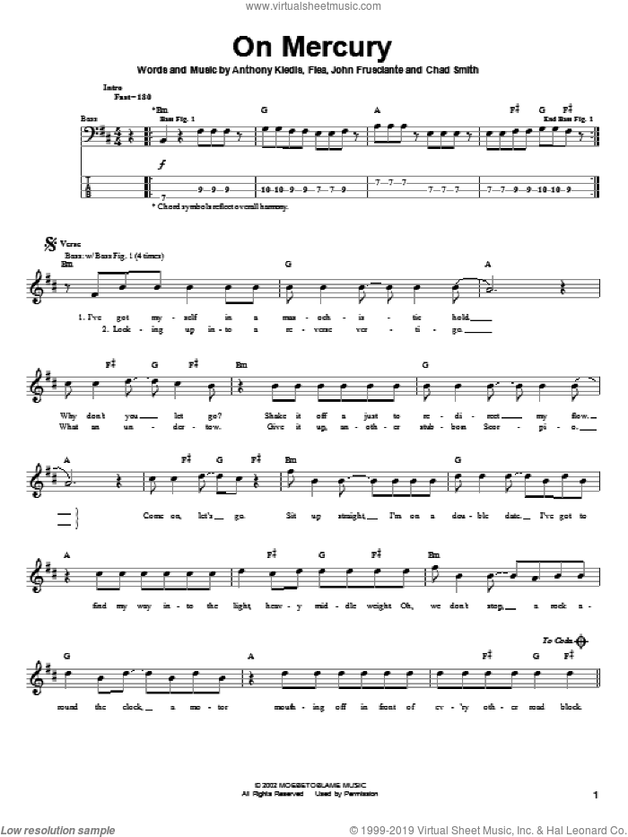 On Mercury sheet music for bass (tablature) (bass guitar) by Red Hot Chili Peppers, Anthony Kiedis, Flea and John Frusciante, intermediate. Score Image Preview.