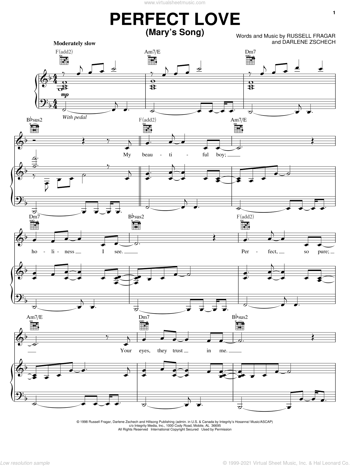 Perfect Love (Mary's Song) sheet music for voice, piano or guitar by Darlene Zschech and Russell Fragar, intermediate skill level