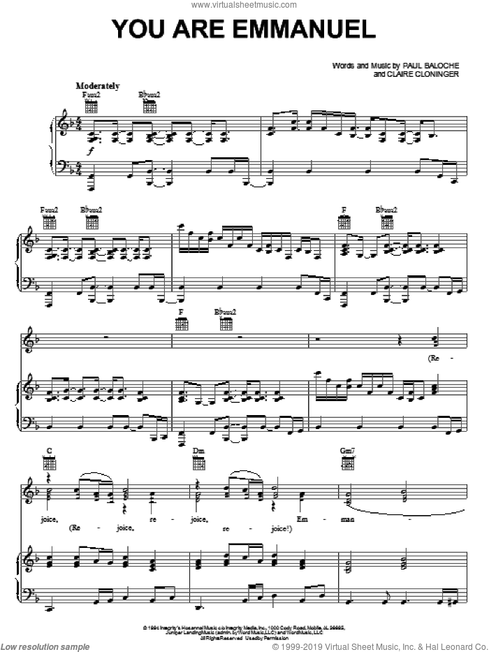 You Are Emmanuel sheet music for voice, piano or guitar by Paul Baloche and Claire Cloninger, intermediate skill level