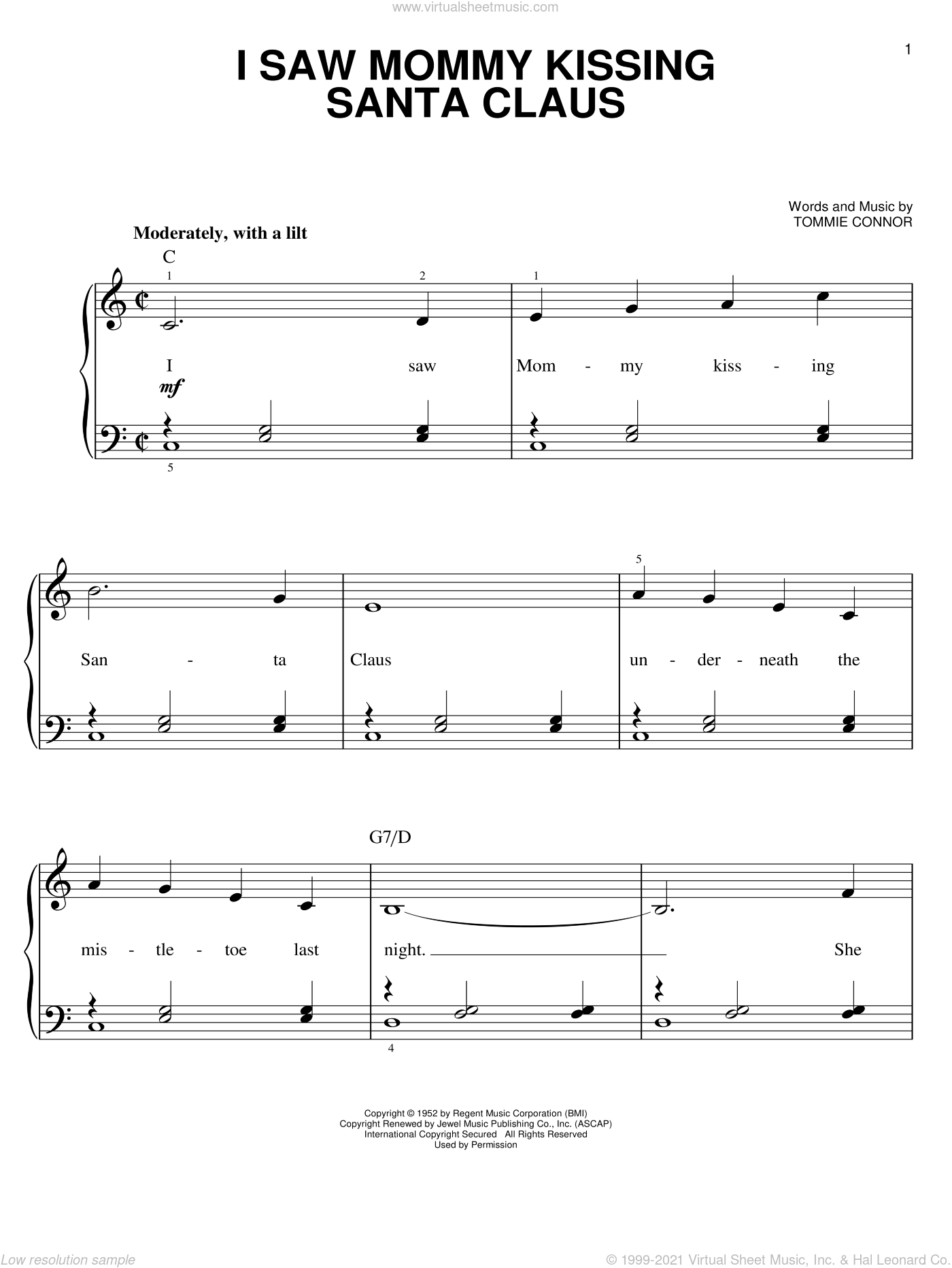 I Saw Mommy Kissing Santa Claus, (easy) sheet music for piano solo by Tommie Connor, easy skill level