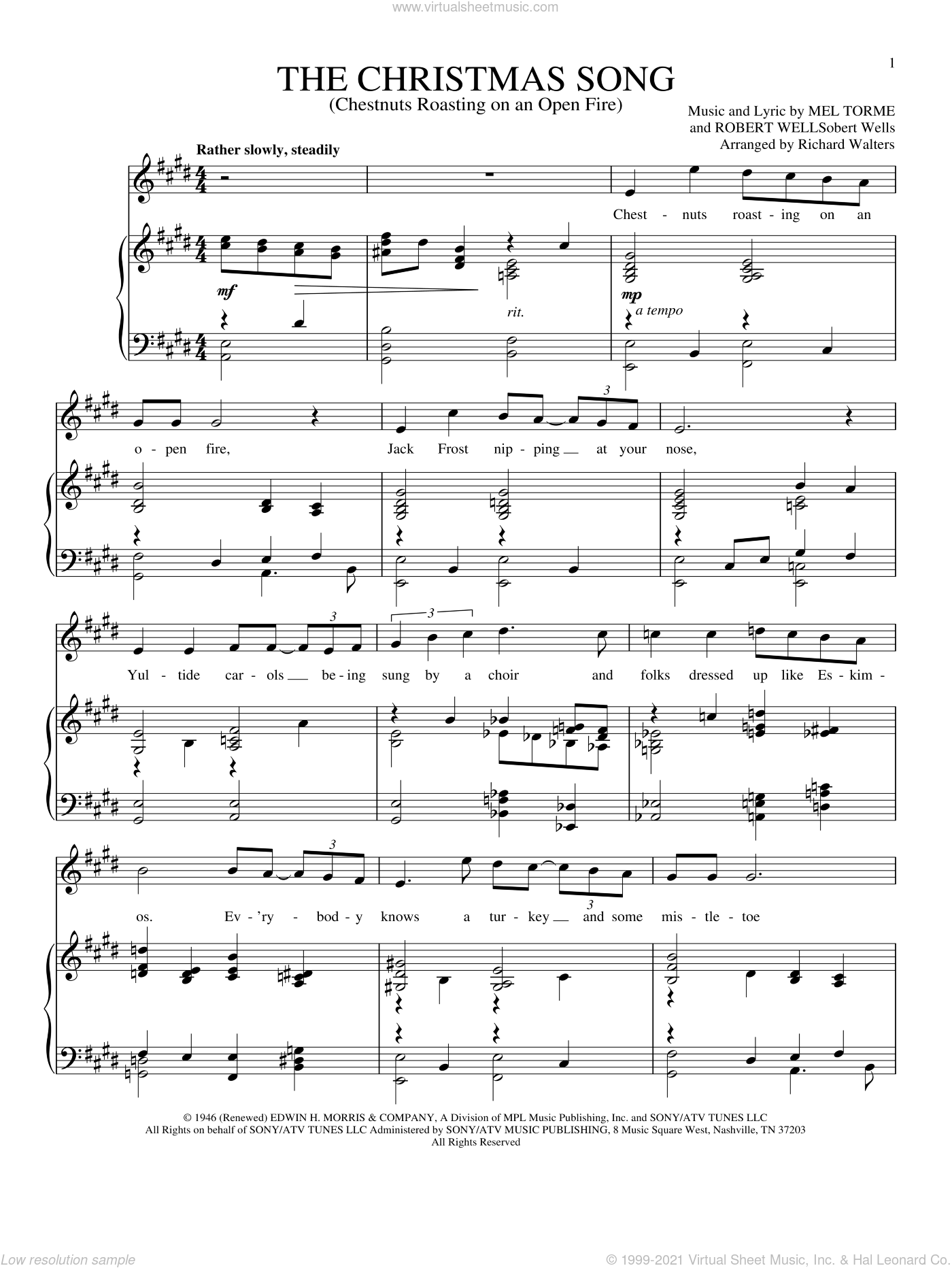 The Christmas Song (Chestnuts Roasting On An Open Fire) sheet music for voice and piano by Mel Torme and Robert Wells, intermediate skill level