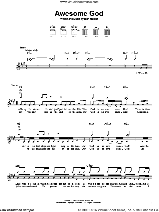 Awesome God sheet music for guitar solo (chords) by Rich Mullins. Score Image Preview.