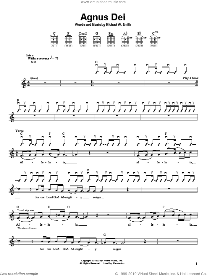 Agnus Dei sheet music for guitar solo (chords) by Michael W. Smith, easy guitar (chords). Score Image Preview.