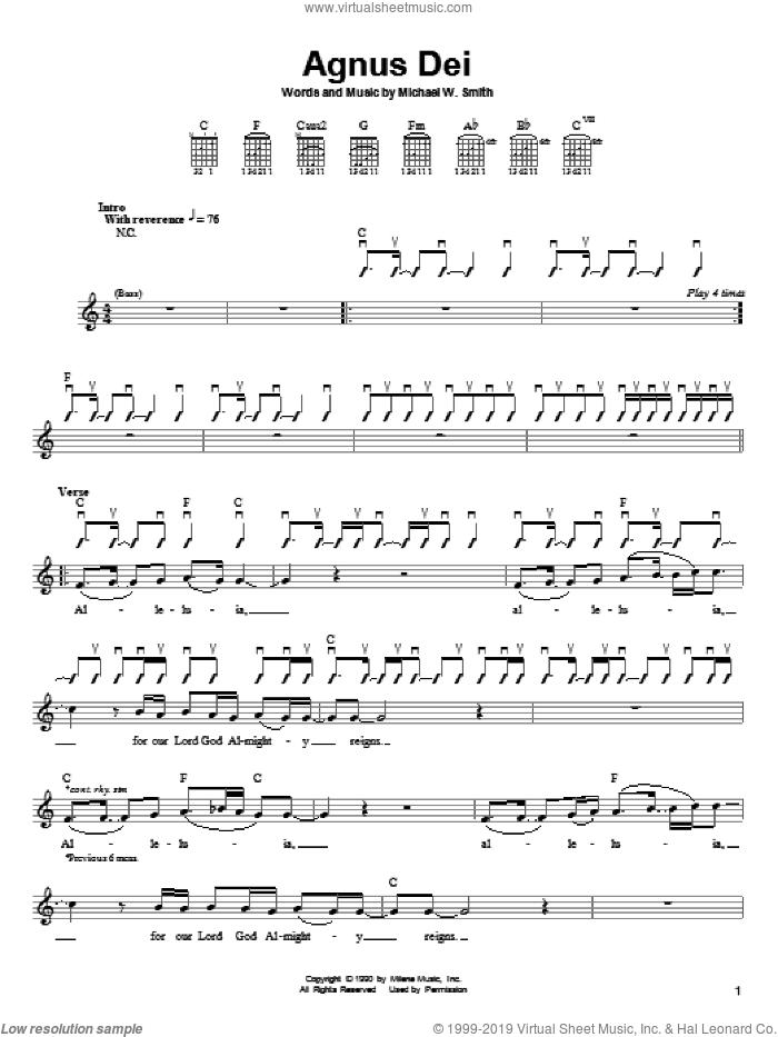 Agnus Dei sheet music for guitar solo (chords) by Michael W. Smith, easy guitar (chords)