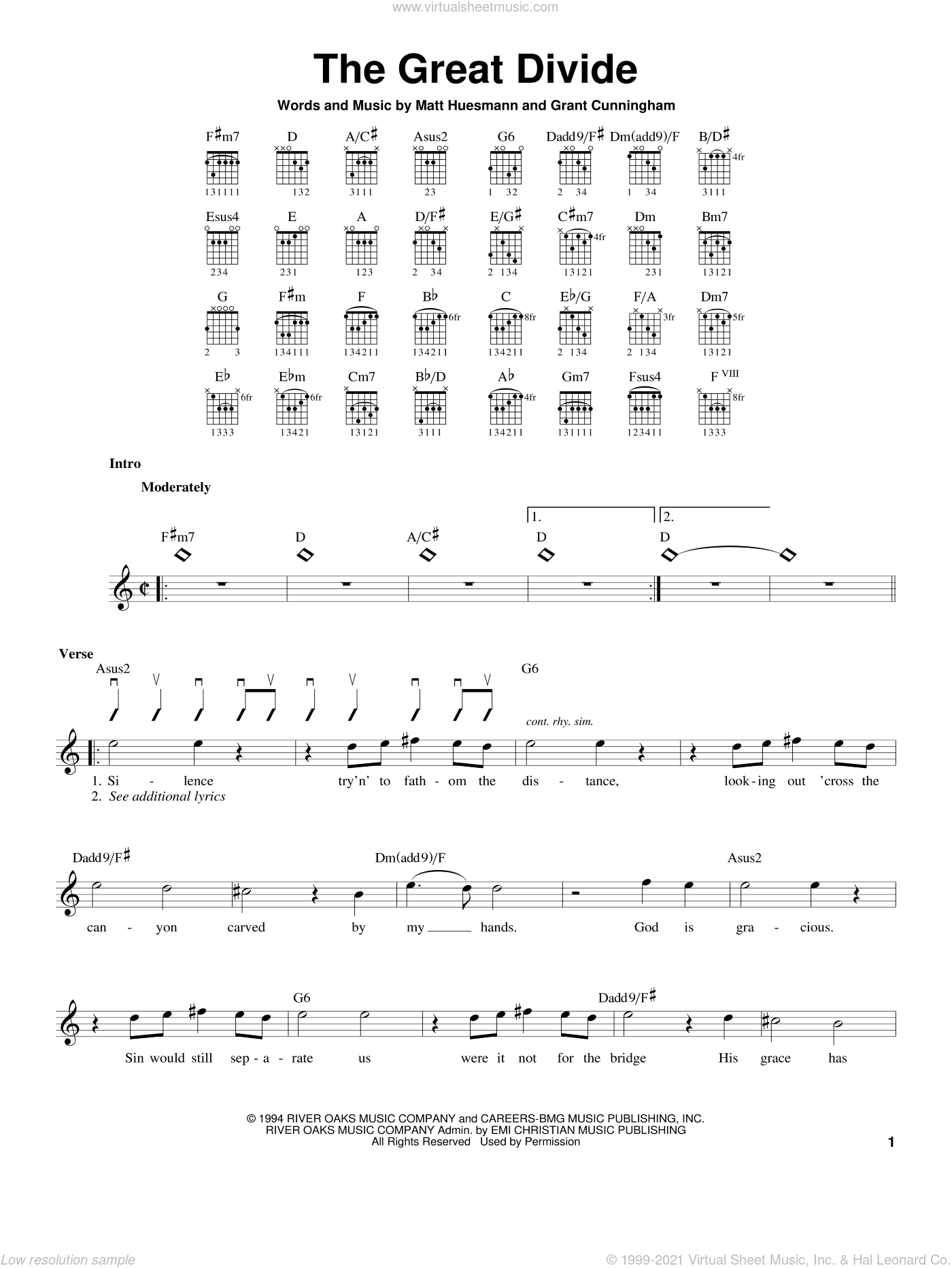 The Great Divide sheet music for guitar solo (chords) by Point Of Grace and Grant Cunningham. Score Image Preview.