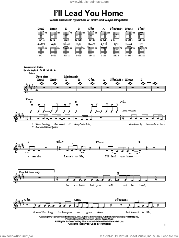 I'll Lead You Home sheet music for guitar solo (chords) by Wayne Kirkpatrick and Michael W. Smith. Score Image Preview.