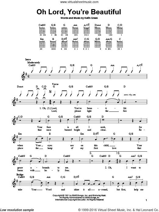 Oh Lord, You're Beautiful sheet music for guitar solo (chords) by Keith Green and Rebecca St. James. Score Image Preview.