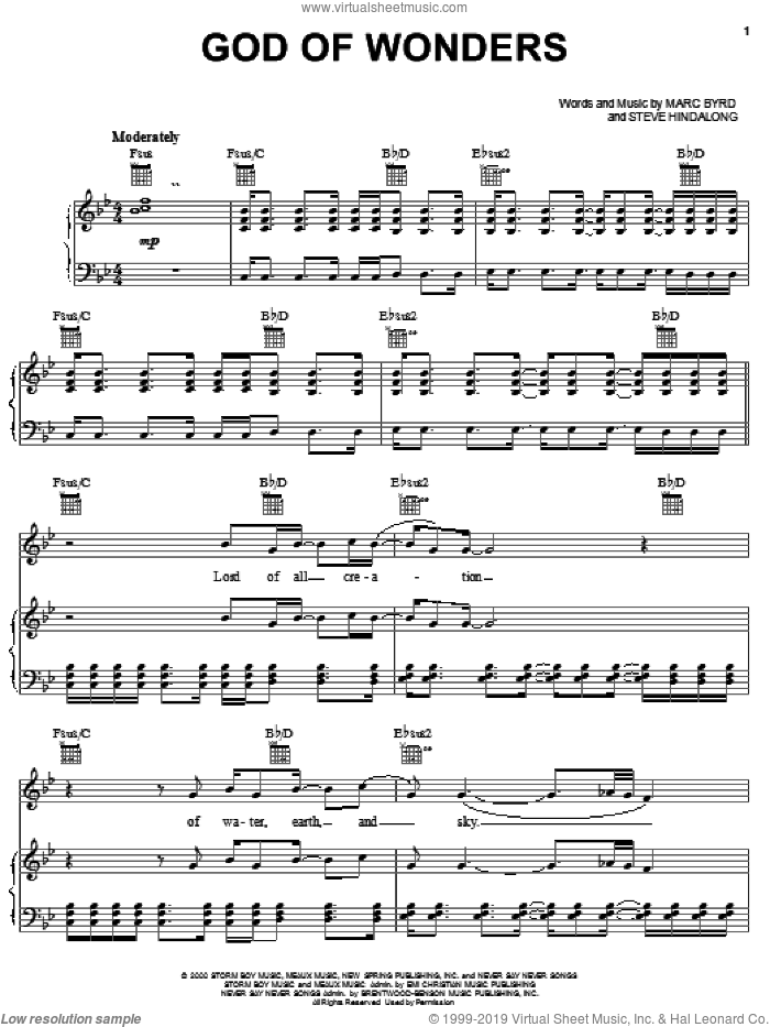 God Of Wonders sheet music for voice, piano or guitar by Third Day, Marc Byrd and Steve Hindalong, intermediate skill level