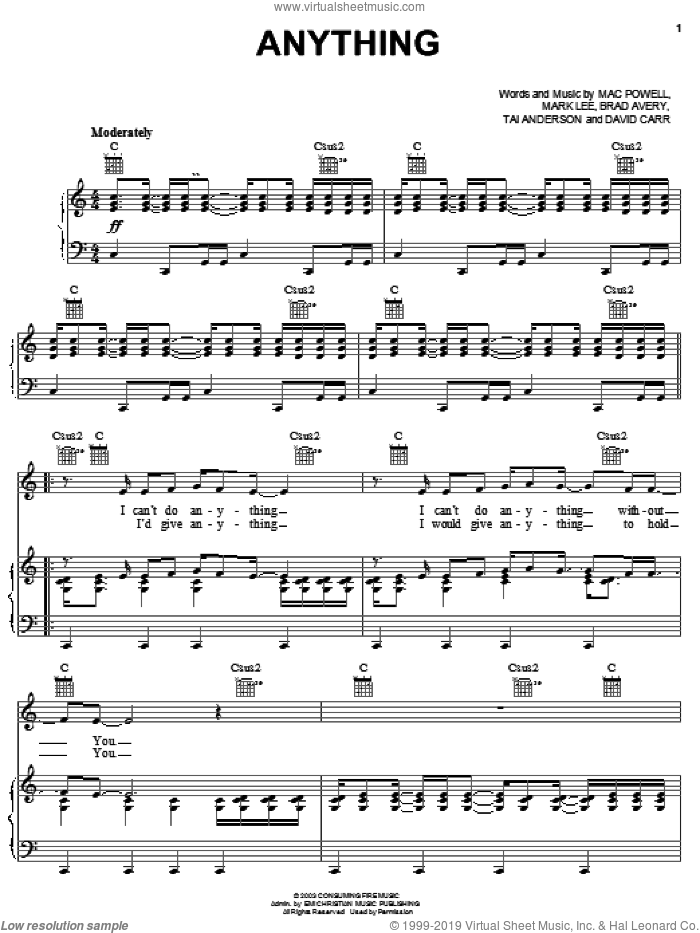 Anything sheet music for voice, piano or guitar by Third Day, Brad Avery, Mac Powell and Mark Lee, intermediate. Score Image Preview.