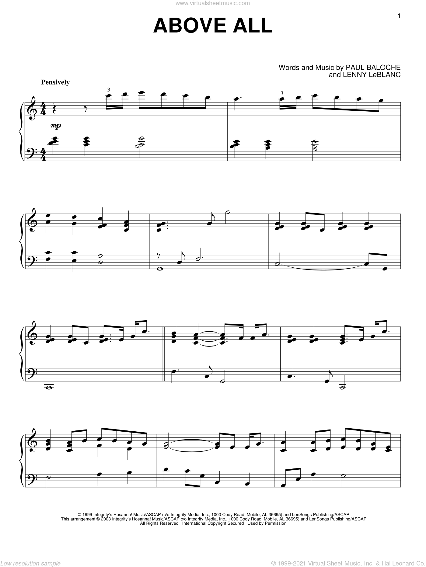 Above All, (intermediate) sheet music for piano solo by Paul Baloche and Lenny LeBlanc, intermediate