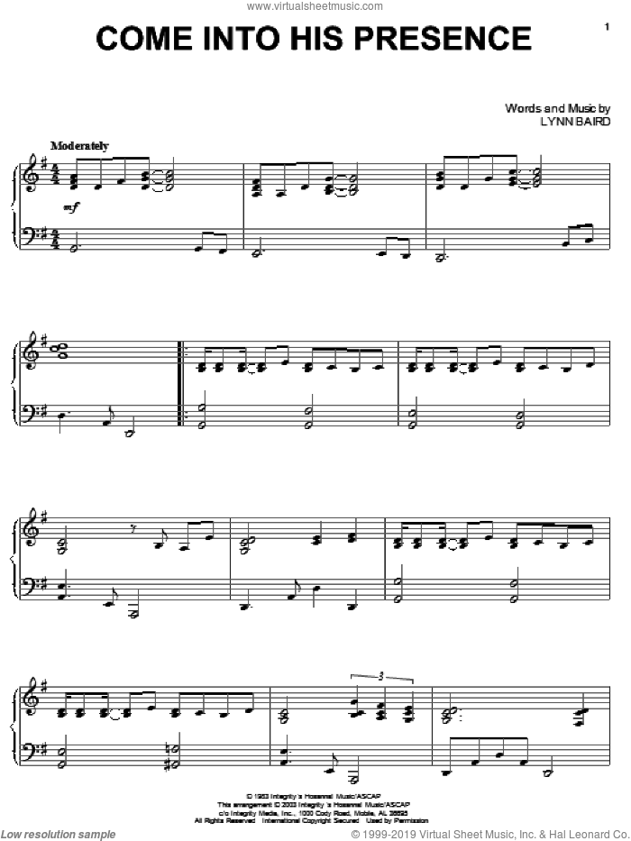 Come Into His Presence sheet music for piano solo by Lynn Baird, intermediate skill level