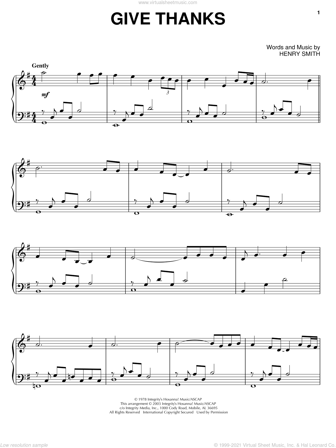 Give Thanks, (intermediate) sheet music for piano solo by Henry Smith, intermediate skill level