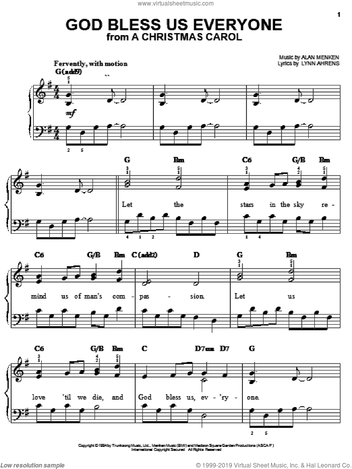 God Bless Us Everyone sheet music for piano solo by Lynn Ahrens and Alan Menken, easy. Score Image Preview.