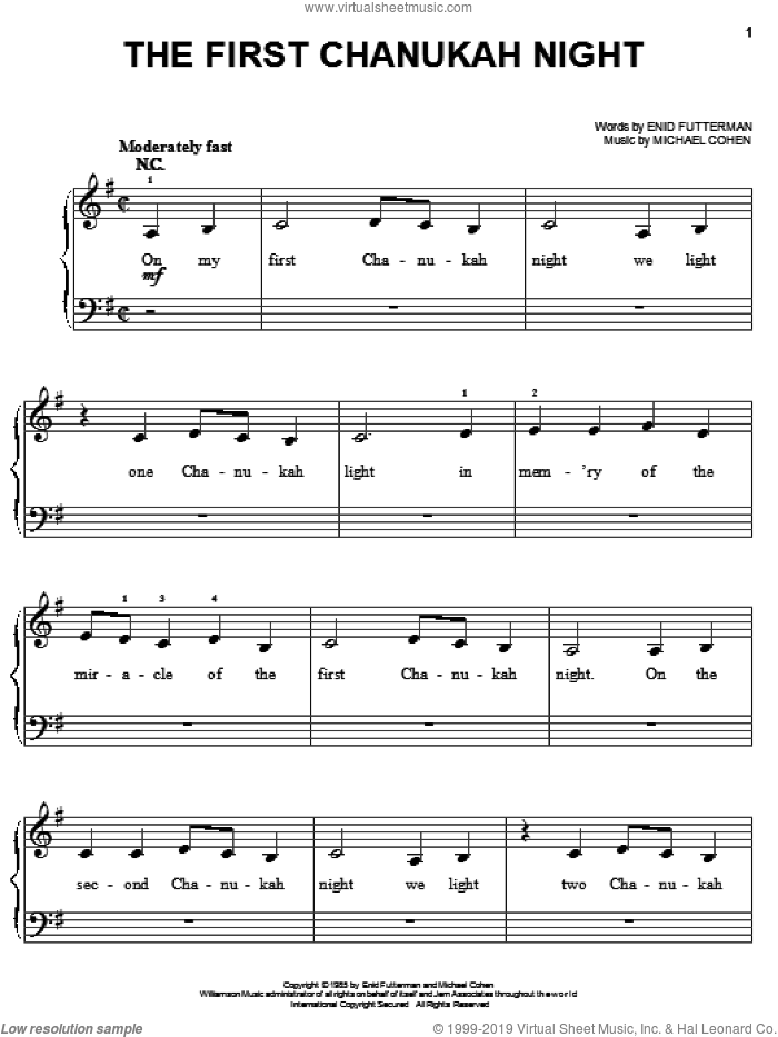 The First Chanukah Night sheet music for piano solo by Enid Futterman and Michael Cohen, easy skill level