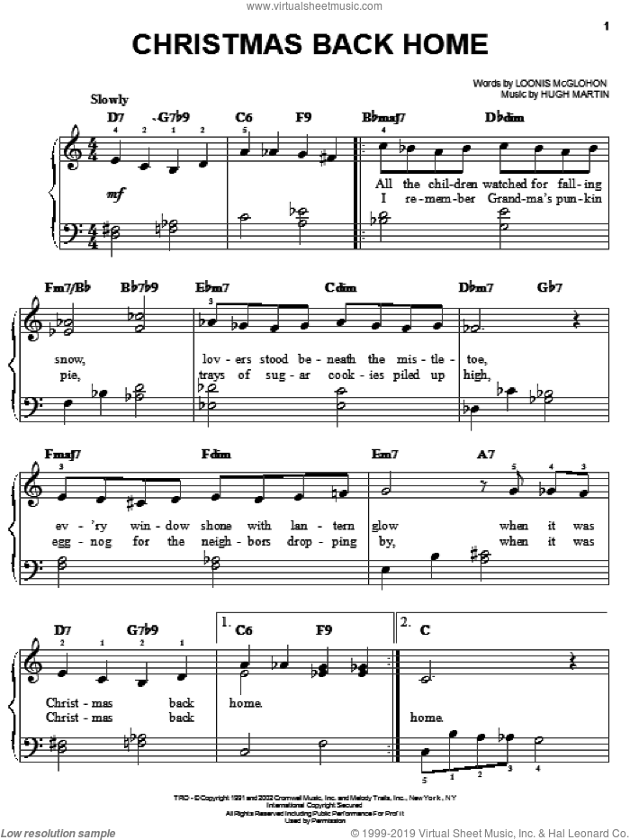 Christmas Back Home sheet music for piano solo by Loonis McGlohon and Hugh Martin, easy skill level
