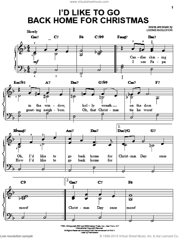 I'd Like To Go Back Home For Christmas sheet music for piano solo by Loonis McGlohon, easy skill level