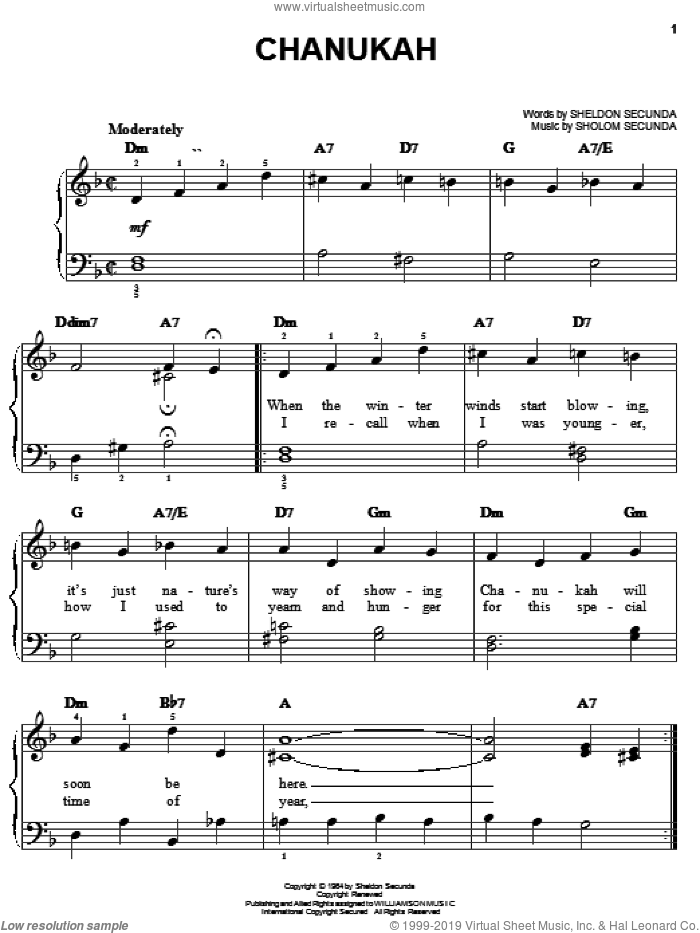 Chanukah sheet music for piano solo by Sholom Secunda and Sheldon Secunda. Score Image Preview.