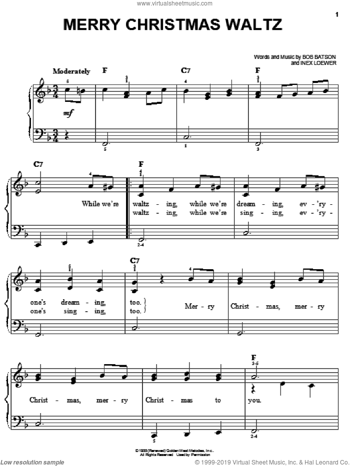 Merry Christmas Waltz sheet music for piano solo by Bob Batson and Inex Loewer, easy. Score Image Preview.