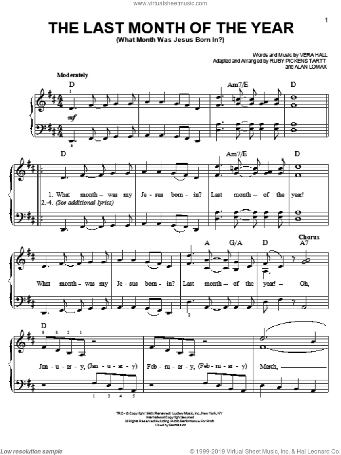 The Last Month Of The Year (What Month Was Jesus Born In?) sheet music for piano solo by Vera Hall, John A. Lomax and Ruby Pickens Tartt, easy skill level