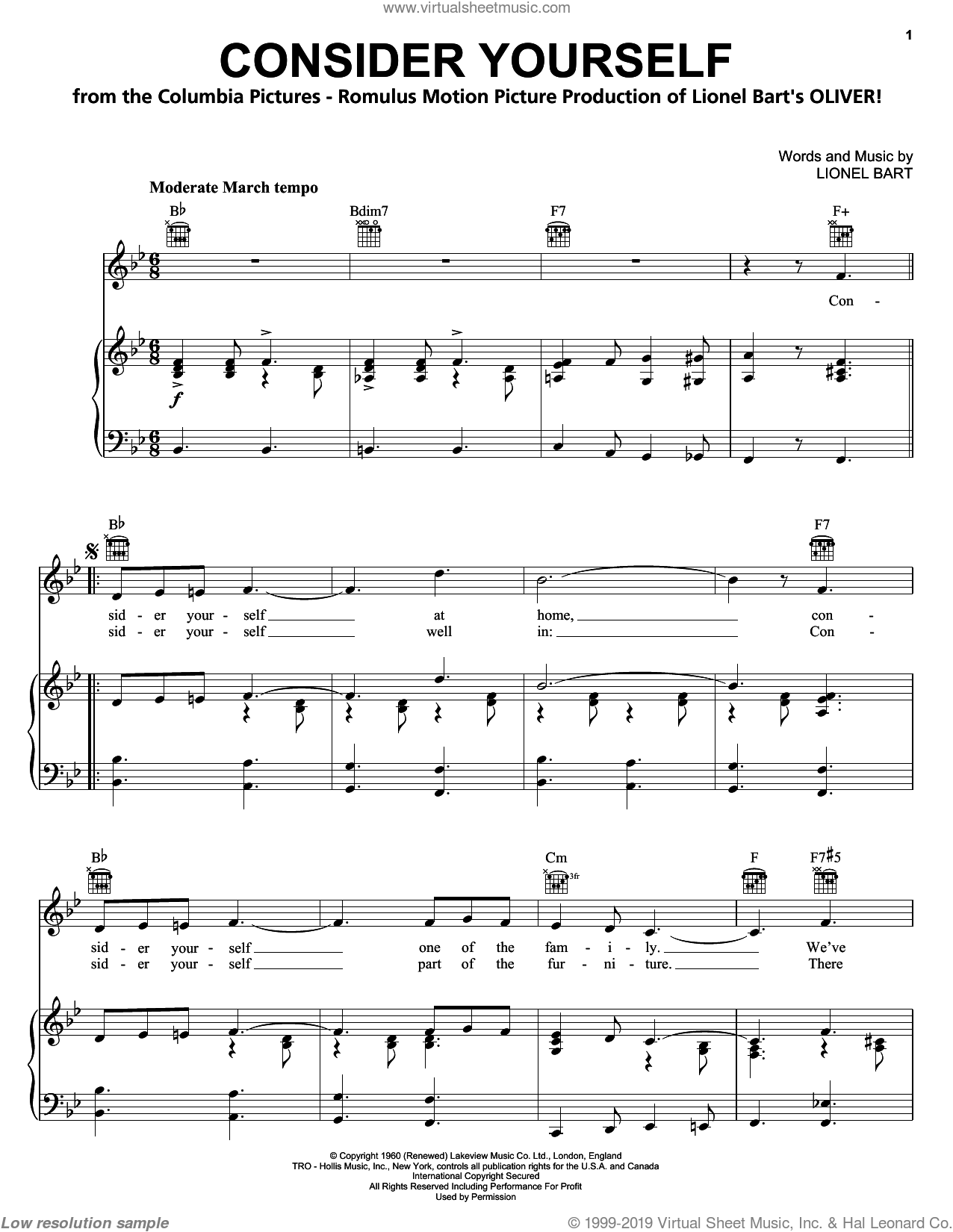 Consider Yourself sheet music for voice, piano or guitar by Lionel Bart, Bruce Prochnik, Michael Goodman, Oliver! and Oliver! (Musical), intermediate. Score Image Preview.