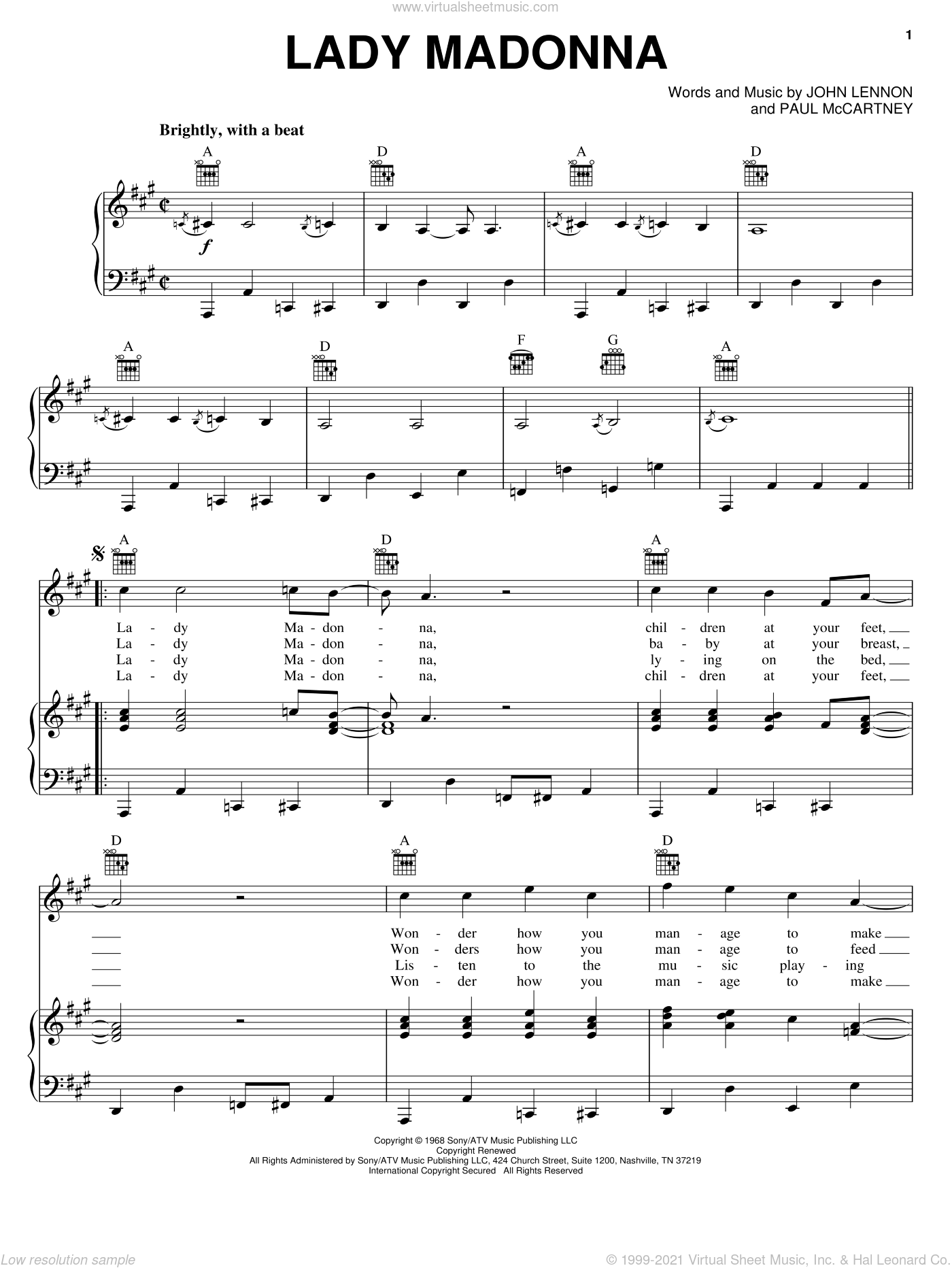 Lady Madonna sheet music for voice, piano or guitar by The Beatles, John Lennon and Paul McCartney. Score Image Preview.