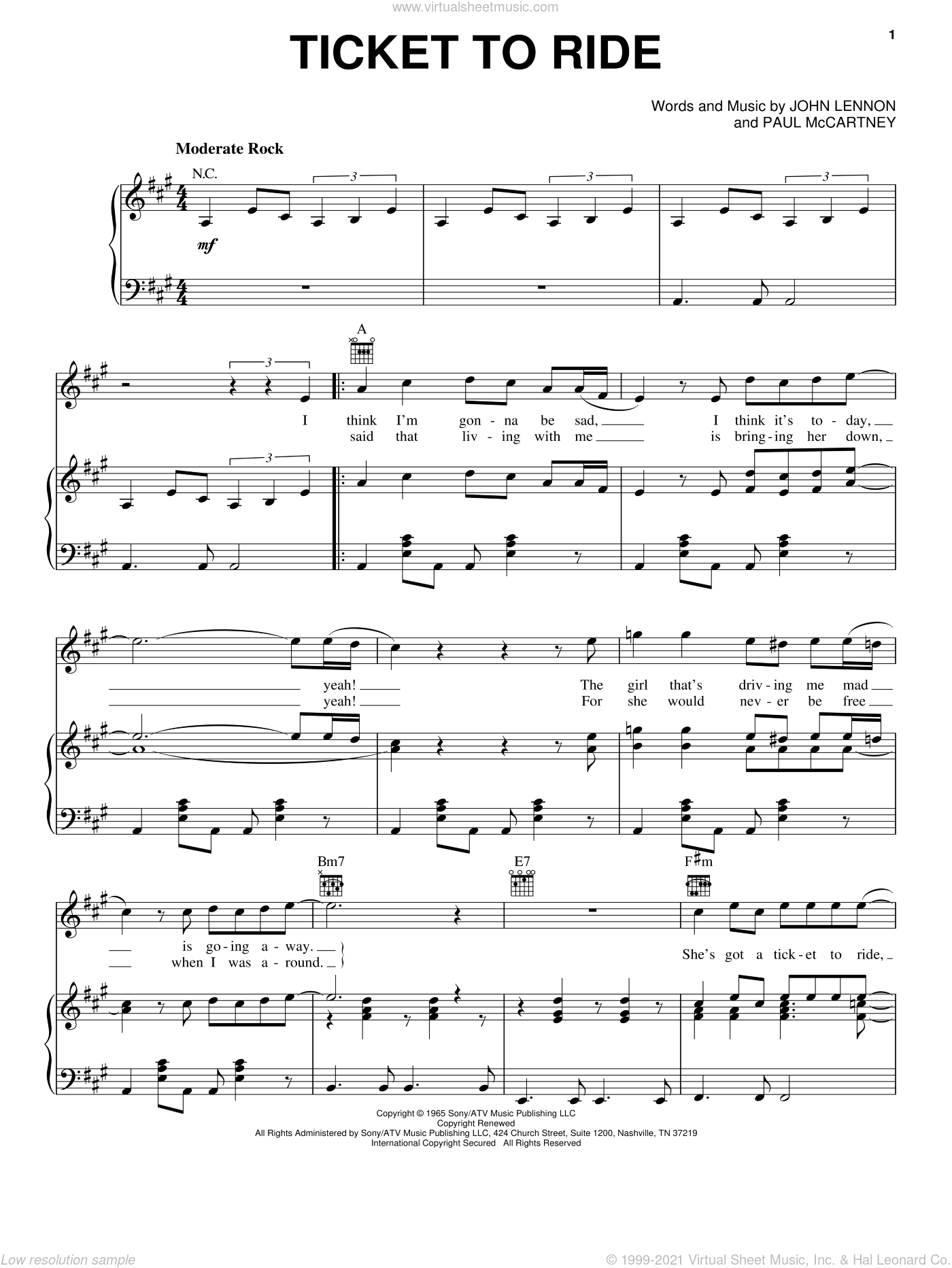 Ticket To Ride sheet music for voice, piano or guitar by The Beatles, John Lennon and Paul McCartney, intermediate skill level