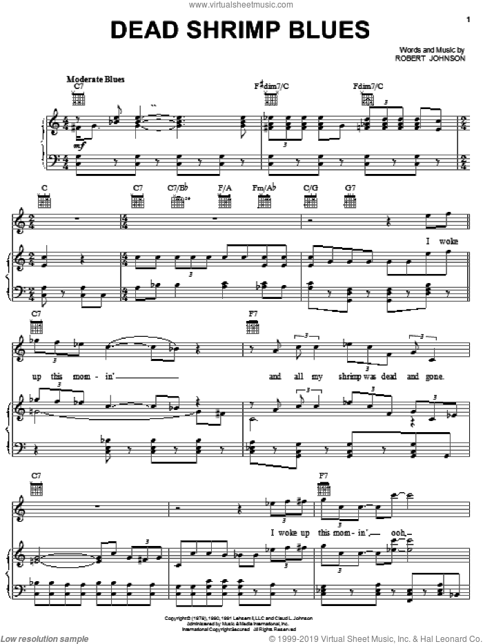 Dead Shrimp Blues sheet music for voice, piano or guitar by Robert Johnson, intermediate skill level