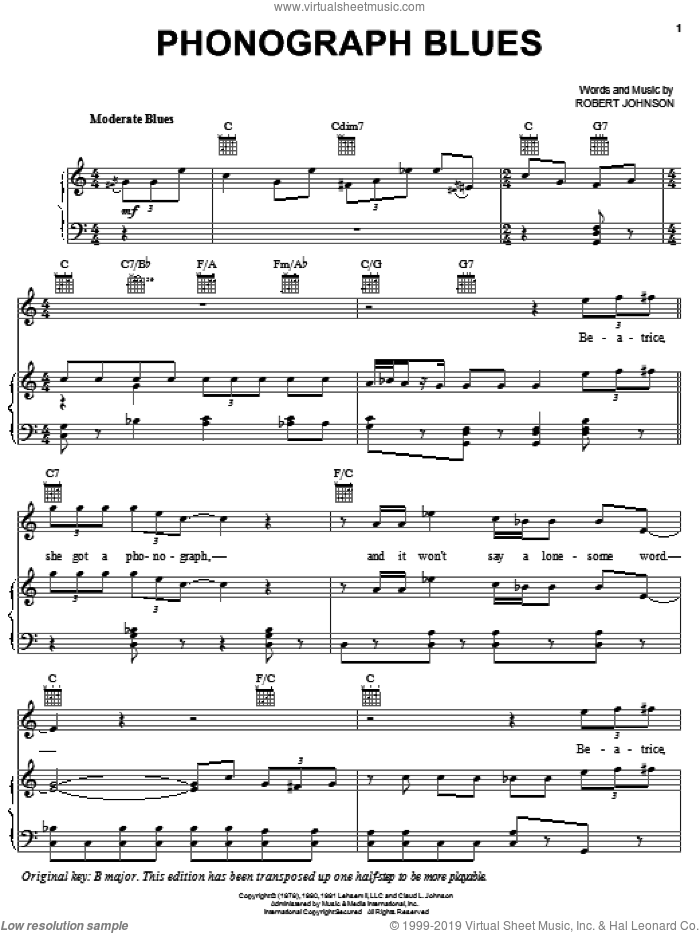 Phonograph Blues sheet music for voice, piano or guitar by Robert Johnson, intermediate skill level
