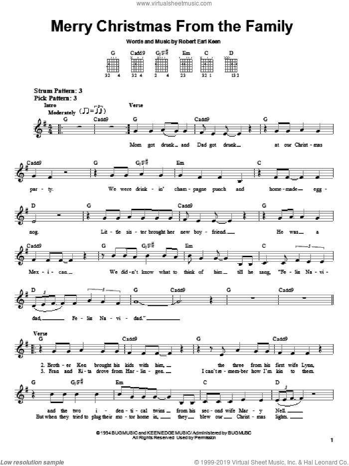 Merry Christmas From The Family sheet music for guitar solo (chords) by Robert Earl Keen, easy guitar (chords)