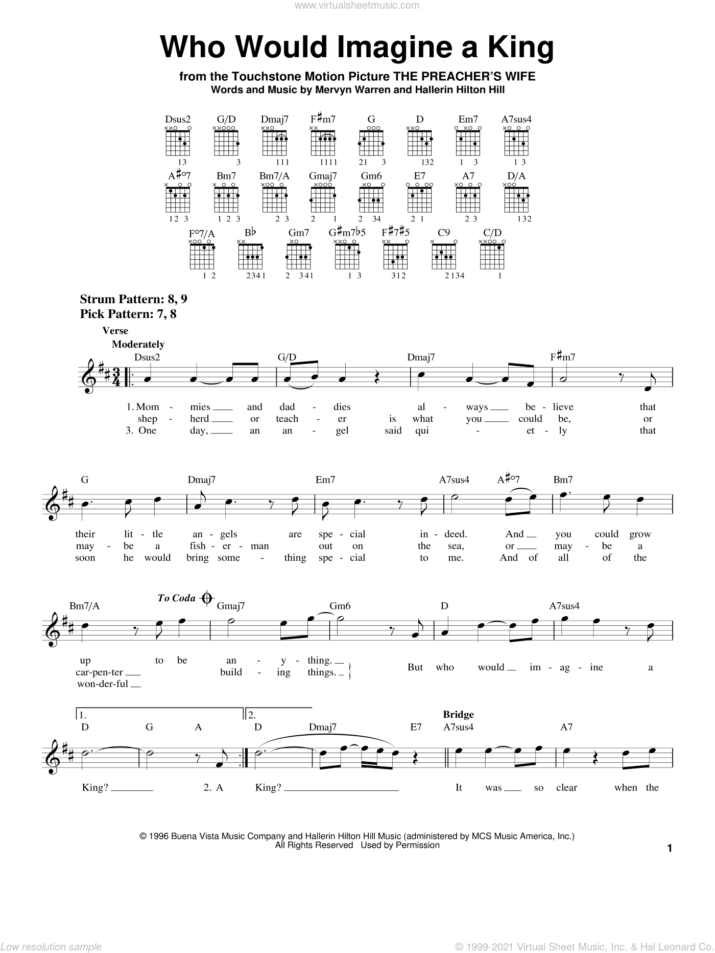 Who Would Imagine A King sheet music for guitar solo (chords) by Whitney Houston, Hallerin Hilton Hill and Mervyn Warren, easy guitar (chords)