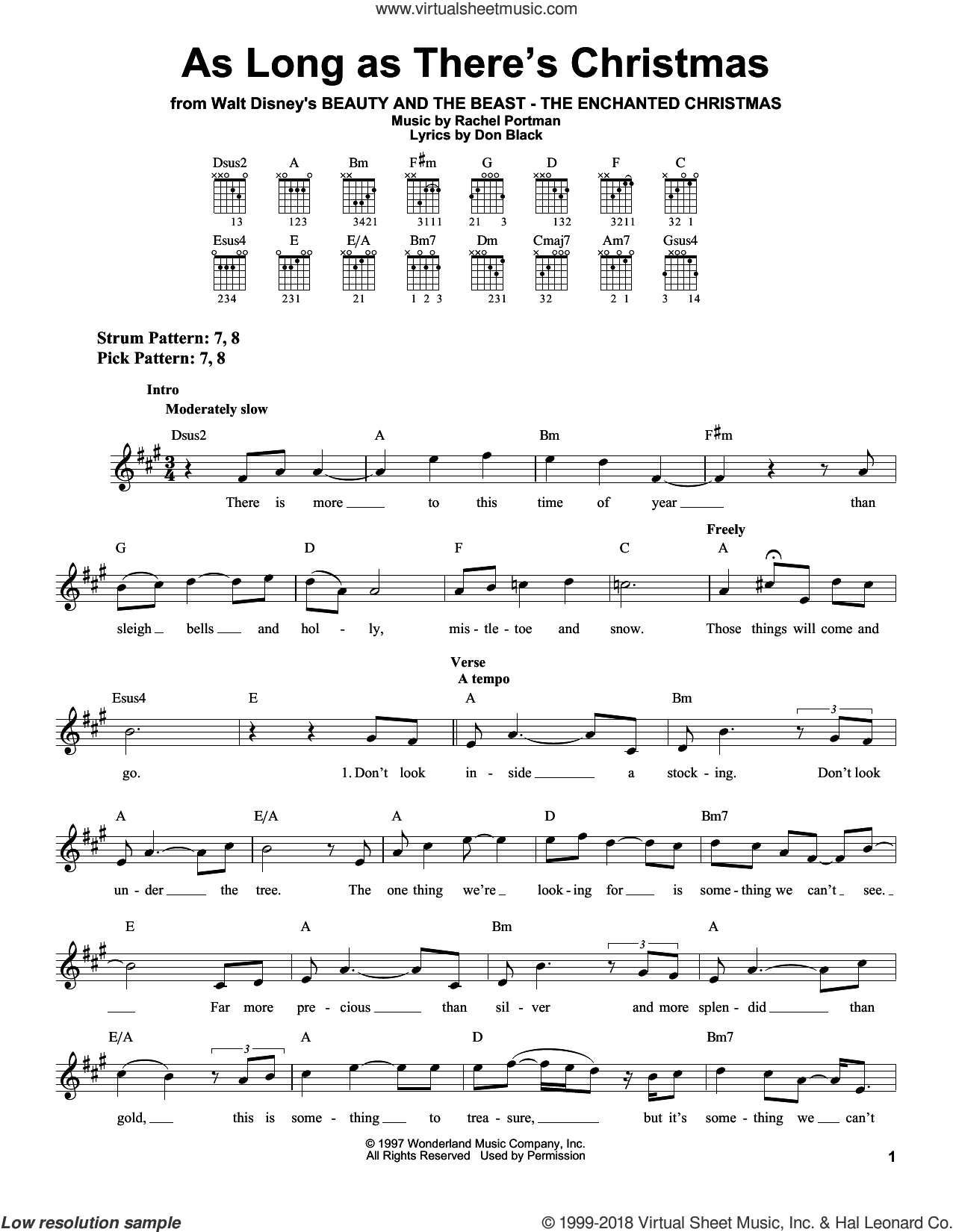 As Long As There's Christmas sheet music for guitar solo (chords) by Rachel Portman