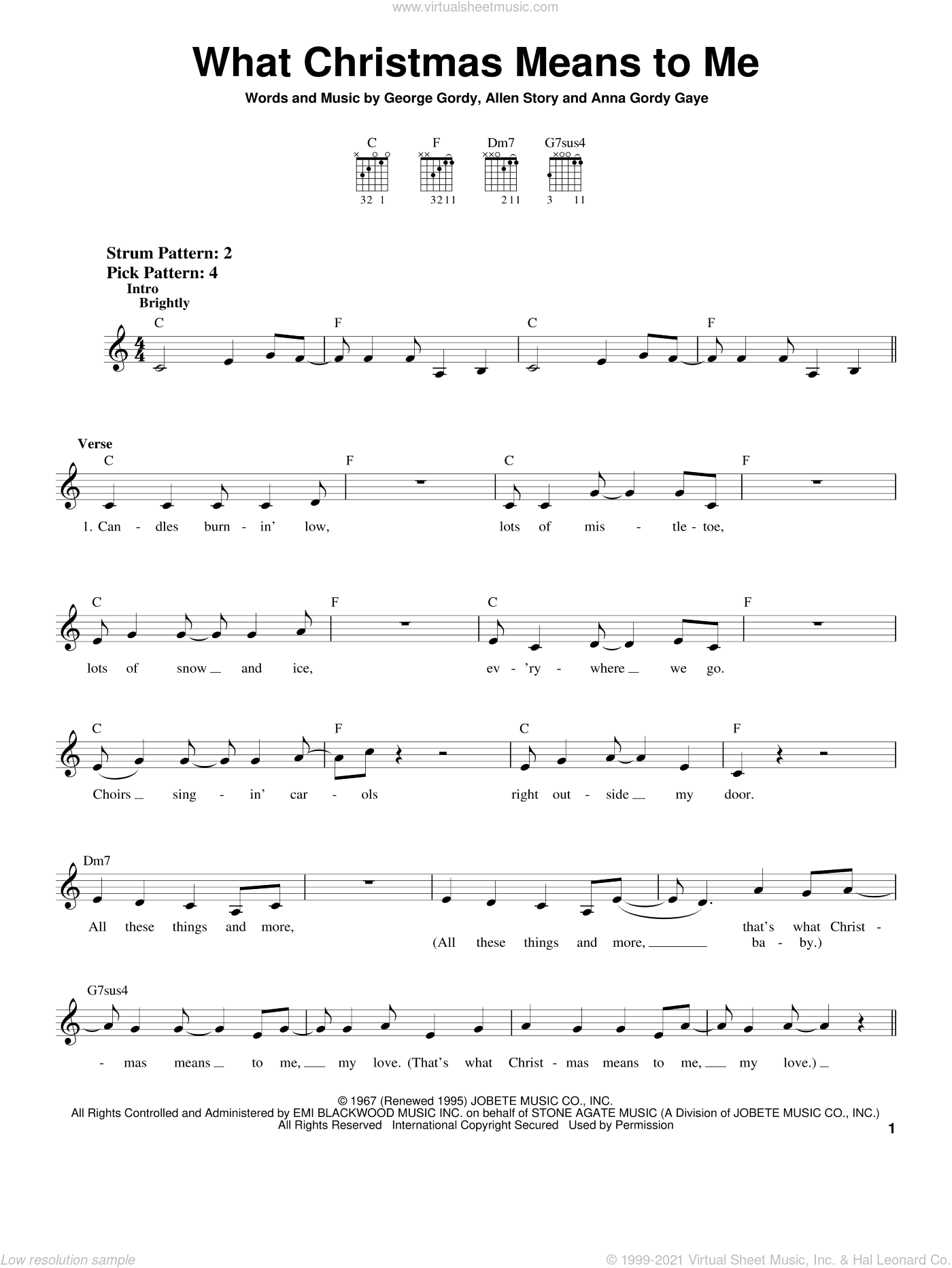 What Christmas Means To Me sheet music for guitar solo (chords) by George Gordy, Allen Story and Anna Gordy Gaye, easy guitar (chords)