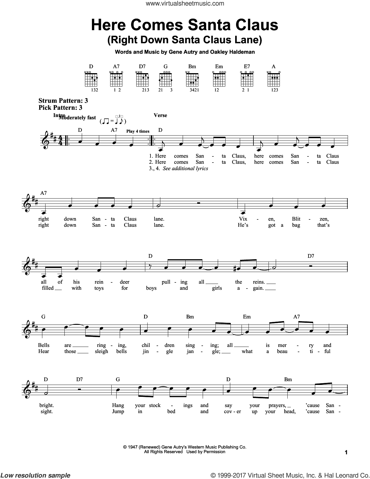 Here Comes Santa Claus (Right Down Santa Claus Lane) sheet music for guitar solo (chords) by Gene Autry and Oakley Haldeman, easy guitar (chords)