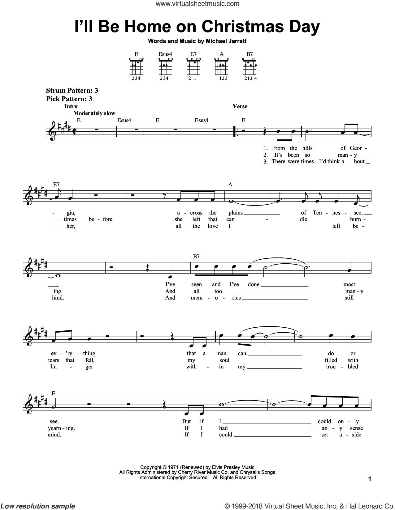 I'll Be Home On Christmas Day sheet music for guitar solo (chords) by Elvis Presley and Michael Jarrett, easy guitar (chords)