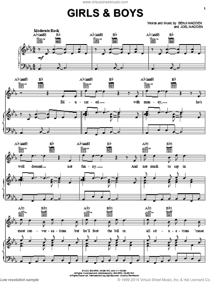 Girls and Boys sheet music for voice, piano or guitar by Good Charlotte, Benji Madden and Joel Madden, intermediate skill level