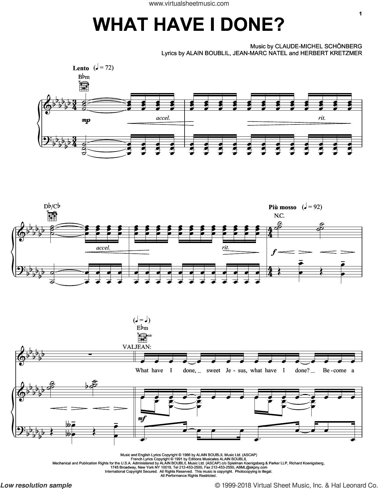 What Have I Done sheet music for voice, piano or guitar by Alain Boublil, Les Miserables (Musical), Herbert Kretzmer and Jean-Marc Natel, intermediate skill level