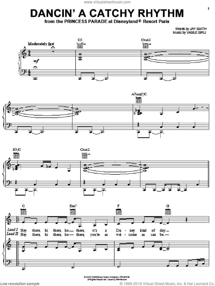 Dancin' A Catchy Rhythm sheet music for voice, piano or guitar by Jay Smith and Vasile Sirli, intermediate. Score Image Preview.