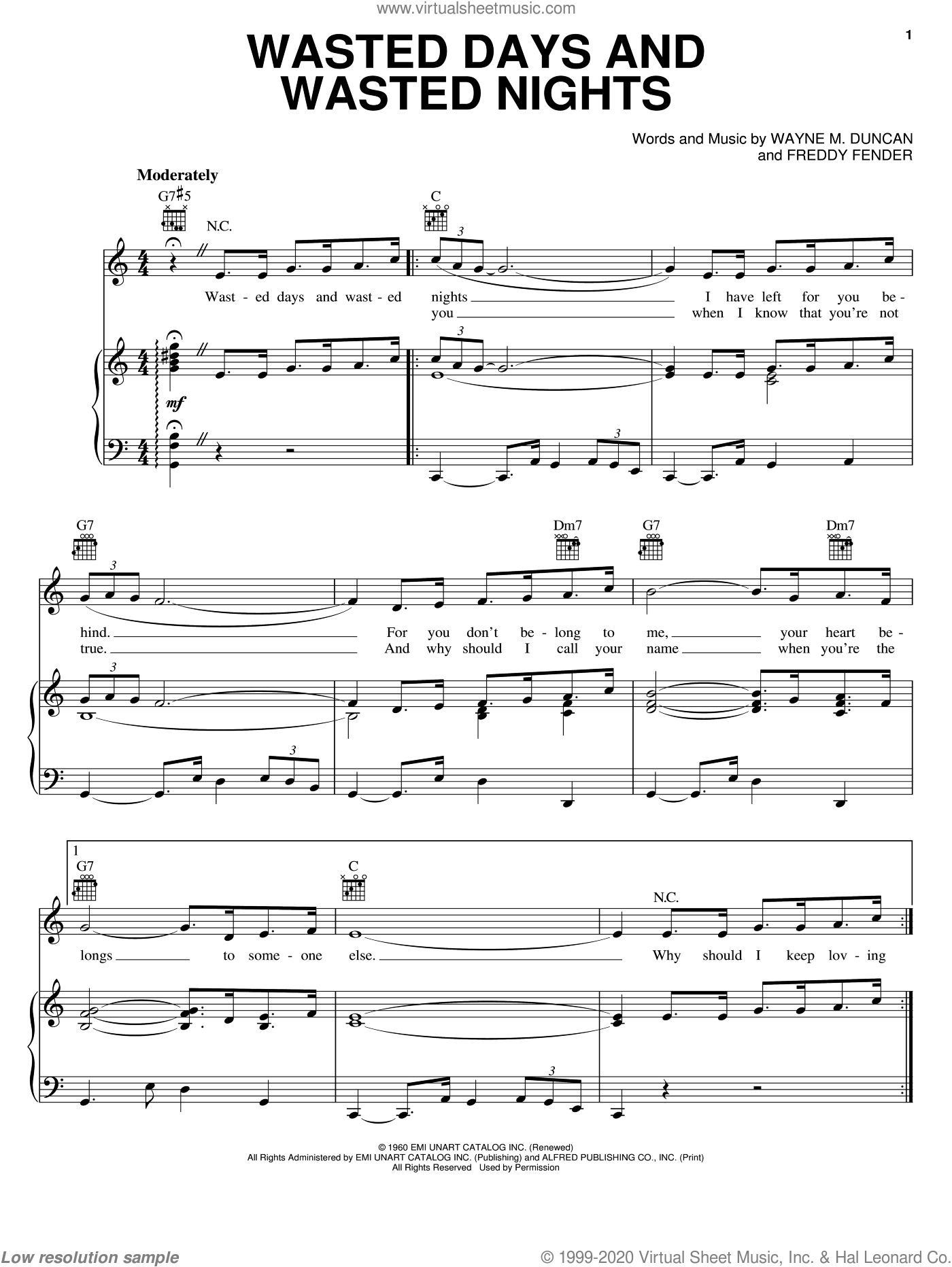 Wasted Days And Wasted Nights sheet music for voice, piano or guitar by Freddy Fender and Wayne M. Duncan. Score Image Preview.