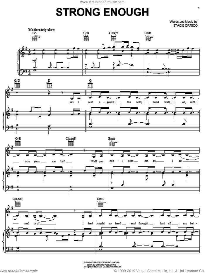 Strong Enough sheet music for voice, piano or guitar by Stacie Orrico, intermediate. Score Image Preview.
