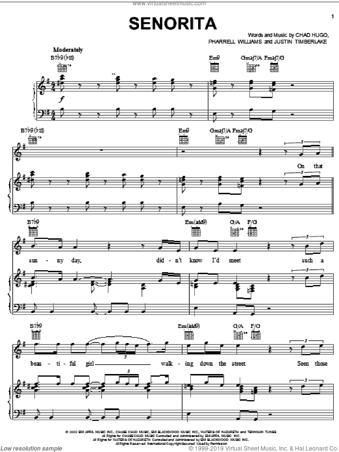 Senorita sheet music for voice, piano or guitar by Justin Timberlake, Chad Hugo and Pharrell Williams, intermediate skill level