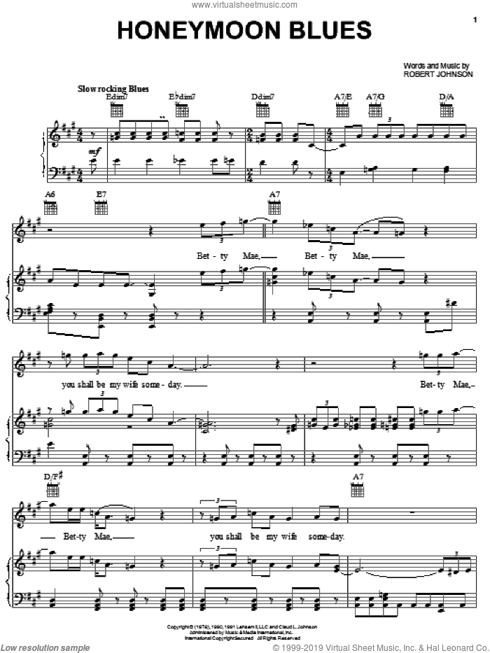 Honeymoon Blues sheet music for voice, piano or guitar by Robert Johnson, intermediate skill level