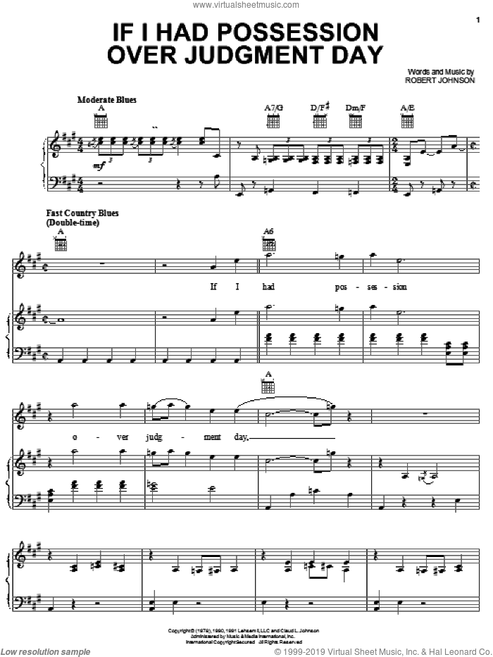 If I Had Possession Over Judgment Day sheet music for voice, piano or guitar by Robert Johnson. Score Image Preview.
