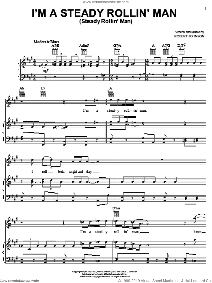 I'm A Steady Rollin' Man (Steady Rollin' Man) sheet music for voice, piano or guitar by Robert Johnson and Eric Clapton, intermediate skill level