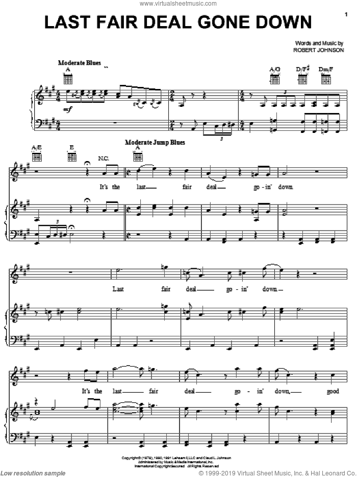 Last Fair Deal Gone Down sheet music for voice, piano or guitar by Robert Johnson, intermediate voice, piano or guitar. Score Image Preview.